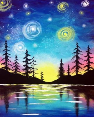 Paint Nite : Starry Lake Sunset @ Flying Bison Brewing Company | Buffalo | NY | United States