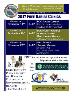 Free Rabies Vaccination Clinic--dogs, cats & ferrets @ West Seneca Highway Garage | West Seneca | NY | United States