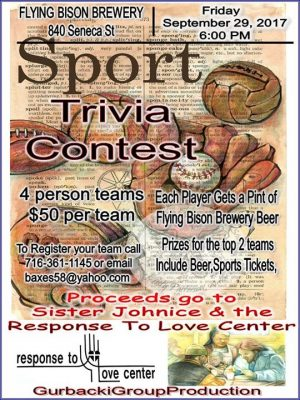 Sports Trivia Contest for Response To Love Center @ Flying Bison Brewing Company | Buffalo | NY | United States