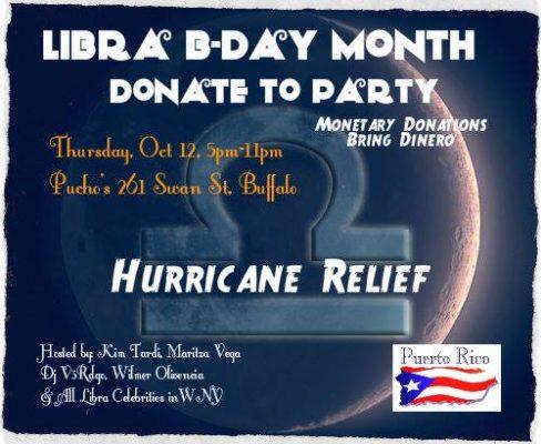 Libra bday Hurricane Relief Donate Party