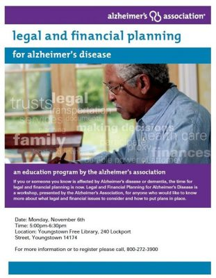 Legal and Financial Planning for Alzheimer's Disease @ Youngstown Free Library | Youngstown | NY | United States