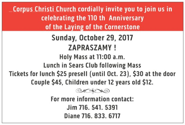 110th Anniversary of Laying of Cornerstone at Corpus Christi on October 29th